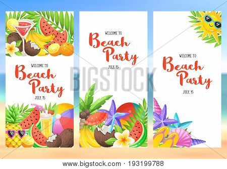 Beach party banners with colorful summer time icons. Fresh tropical fruits and cocktails in vertical composition. Welcome to Beach party flayer template.