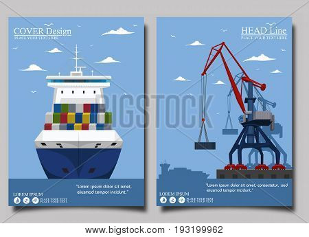 Sea shipping banner with port crane. Maritime container transportation, commercial transportation logistics. Worldwide freight shipping business company, global delivery service vector illustration