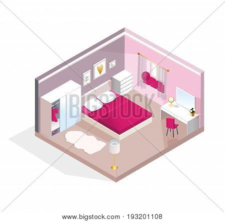 Interior isometric view for Young Women or teen girl. Modern realistic pink bedroom design. Vector illustration