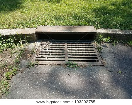 iron metal storm drain for water on the ground