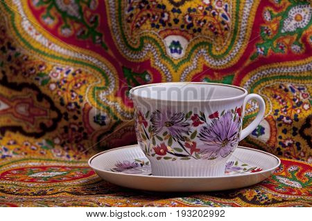 Beautiful tea cup with saucer floral ornament In oriental style