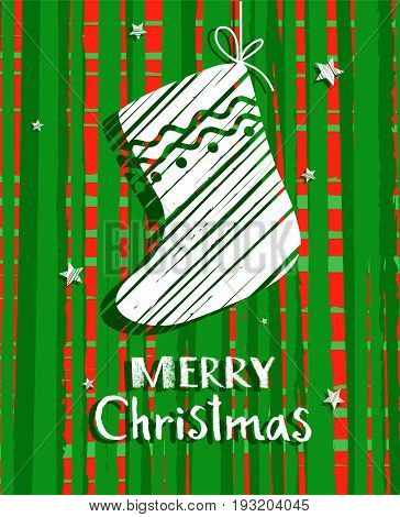 Christmas card with sock, green, vector. Green, mottled background white sock and Christmas greetings in English. Illustration Christmas card.
