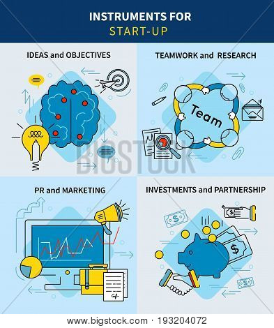Linear business project startup square concept with ideas goals financial marketing and development strategies vector illustration