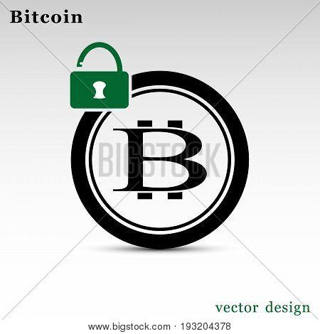 Vector illustration of circle with bitcoin logo and unlocked lock.