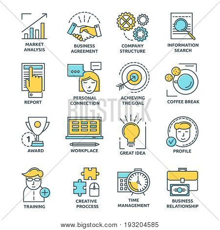 Coworking colored linear icons with creative process business relationships and personal connections market analysis isolated vector illustration