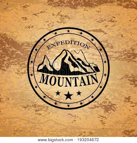 Vector illustration of circle with hill and mountain expedition words.