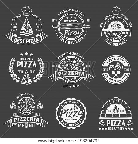 Set of monochrome emblems of pizza shops with culinary utensils on black background isolated vector illustration