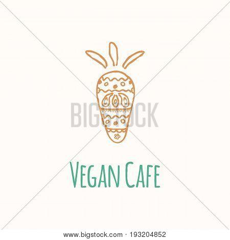 Hand draw illustration of carrot. Vector logo template for vegan cafe restaurant or organic shop.