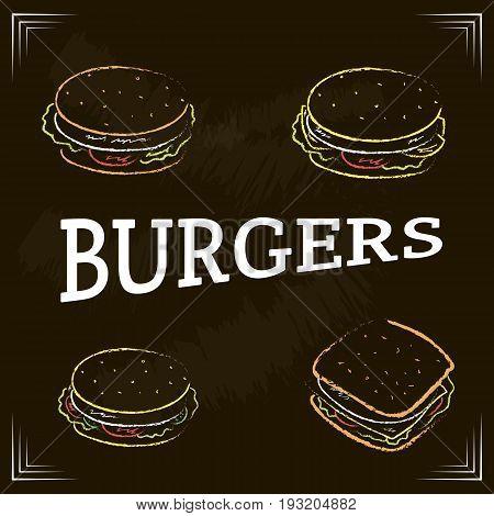 Color illustration of burgers. Vector template for burger menu.