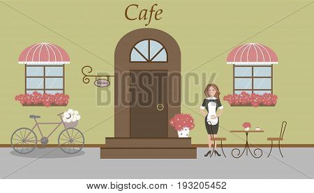 Pretty summer scenery in a rustic style. A cafe, two windows with a striped awnings, door, stairs, red flowers. A bike and basket of daisies. A cute waitress, table and chairs. Vector illustration