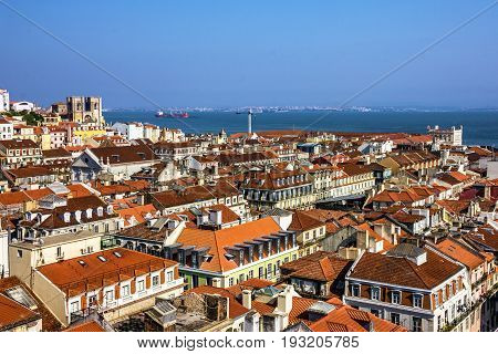 Lisbon city, Portugal. Tagus River Panoramic view