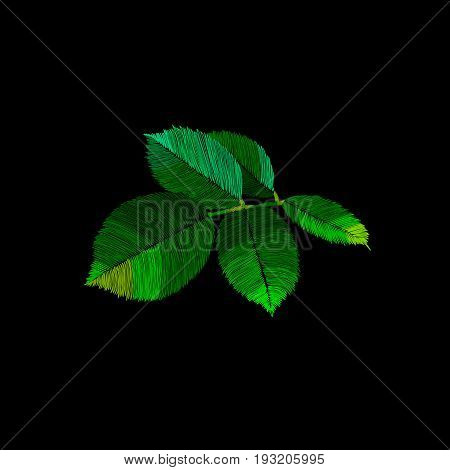 Leaves embroidery, ethnic embroidery leaves, fabric embroidery leaves, authentic embroidery leaves, textile embroidery leaves. Vector.