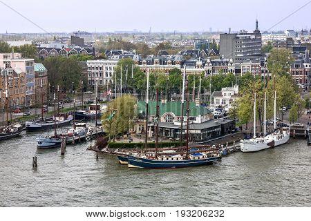 Rotterdam, Netherlands - May 30, 2017: Yachts in Rotterdam marina seaport