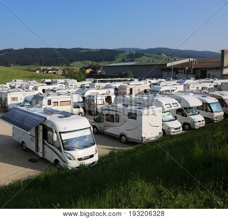 Asiago, Vi, Italy - May 27, 2017: Campers In The Parking Lot After The Cycling Race Called Giro Di I