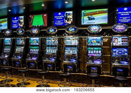 Cruise liner Splendida - May 7, 2017: Gaming slot machines in gambling casino, Cruise liner Splendida, MSC