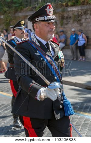 ROME ITALY - JUNE 2 2017: Military parade at Italian National Day. Commander in front. Picture is taken between Piazza Venezia and Teatro di Marcello.