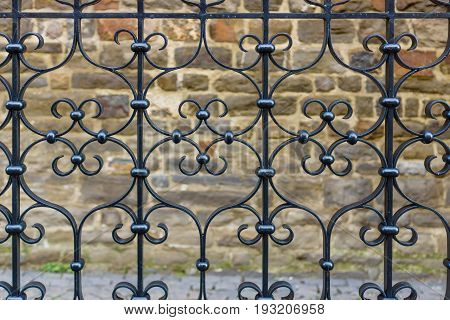 The beautiful wrought old iron fence. Background.