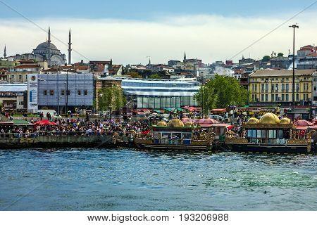 Istanbul, Turkey - May 13, 2017: Istanbul sea front view, Bosporus, Turkey.