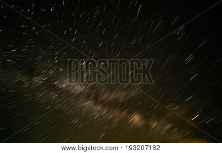Close-up of Milky Way Galaxy Long speed exposure photograph. Amazing Star Night - night scene milky way background in the galaxy.Concept of astronomy.