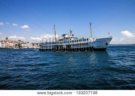 Istanbul, Turkey - May 7, 2017: Passenger vessel in Bosporus, Istanbul, Turkey