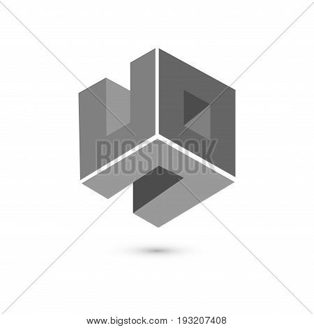 Cube Logo Concept,vector Illustration. Flat Design Style. Cube Construction. Sign Pattern. Graphic D