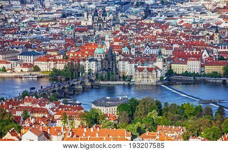 Prague panoramic view Charles bridge, Czech Republic. River Vltava