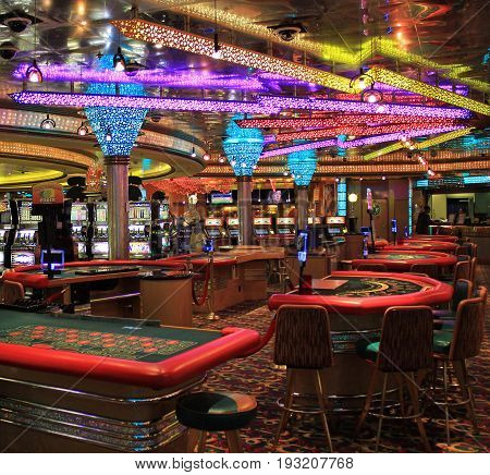 Cruise ship Voyager - May 7, 2017: Gaming slot machines in American gambling casino