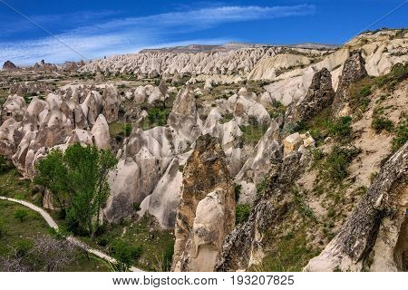 Mountain rock landscape view. Cappadocia, Anatolia, Turkey.