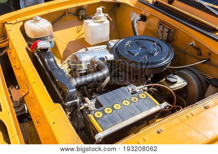 Samara Russia - May 1 2017: Car engine of old soviet vehicle Moskvich-412 under the hood of a retro russian car