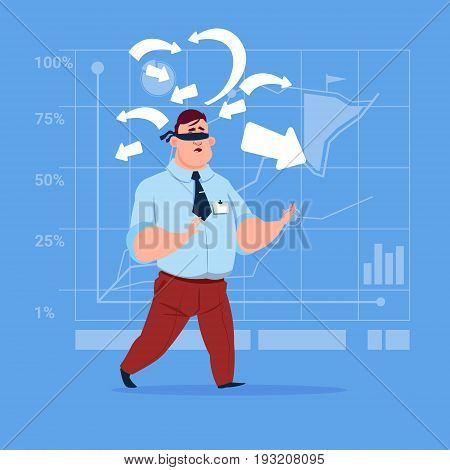 Business Man With Bandage On Eyes Choose Direction Way Arrow Risk Concept Flat Vector Illustration