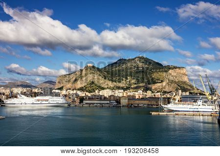 Palermo, Italy - June 30, 2017: Palermo sea port view Sicily Italy