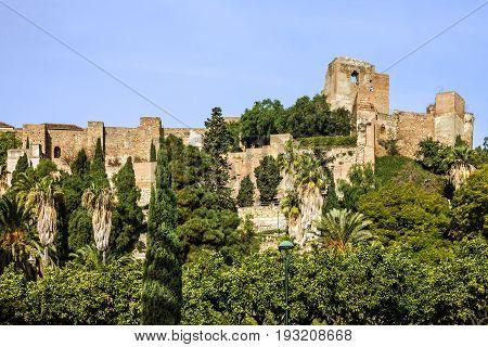 Malaga, Spain Alcazaba ancient fortress ruins. Andalusia