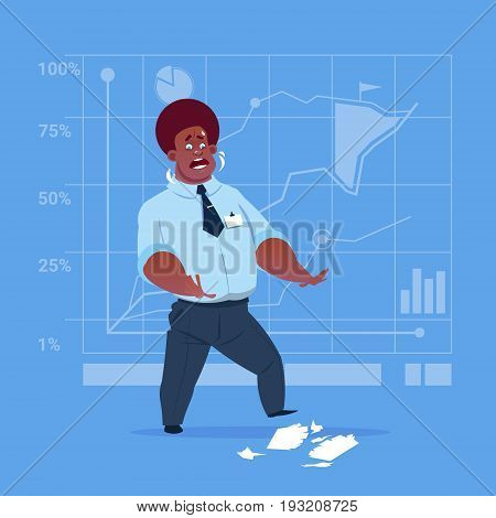 African American Business Man Cry Looking At Tear Paper With Contract Document Having Problem Crisis Concept Flat Vector Illustration