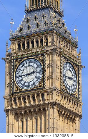 Big Ben Clock tower of the Palace of Westminster London United Kingdom England. The tower is officially known as Elizabeth Tower it was known as the Clock Tower.