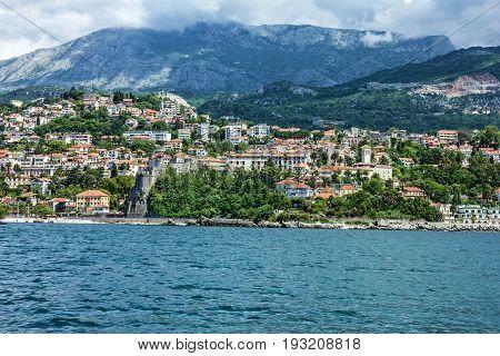 Panorama of Kotor bay, sea view, Montenegro