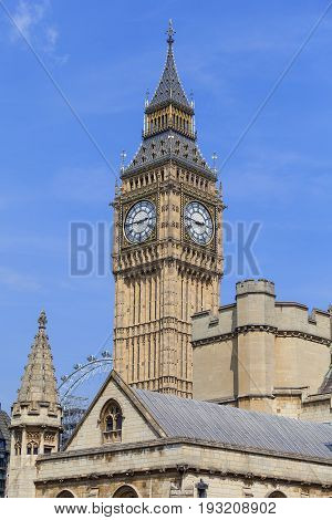 Big Ben Clock tower of the Palace of Westminster London England. The tower is officially known as Elizabeth Tower it was known as the Clock Tower.