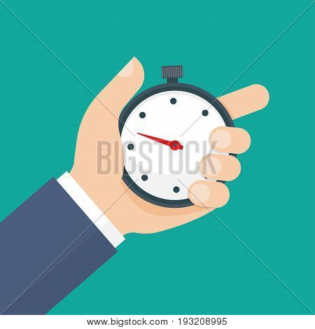Man holds in his hand a sports stopwatch. Time management concept. Vector illustration.