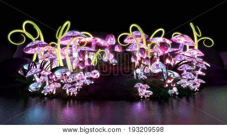 3d render of colorful glowing magical mushrooms
