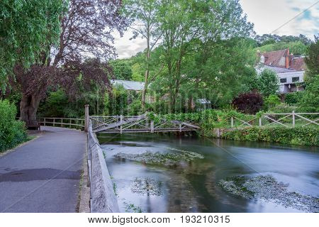 The River Itchen weirs gardens in Winchester