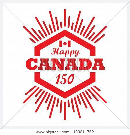 Red hexagon Happy Canada 150 emblem icon with sunbeam on white background poster