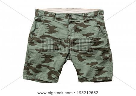 A pair of camouflage summer shorts isolated on white background