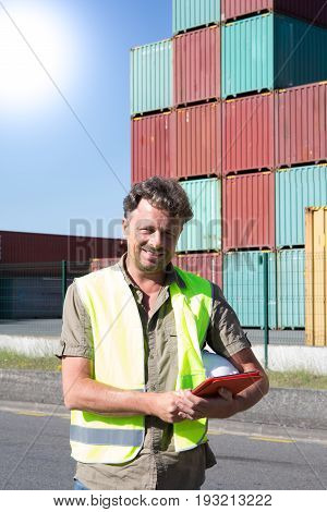 Foreman Control Loading Containers Box To Truck For Logistic Import Export Background