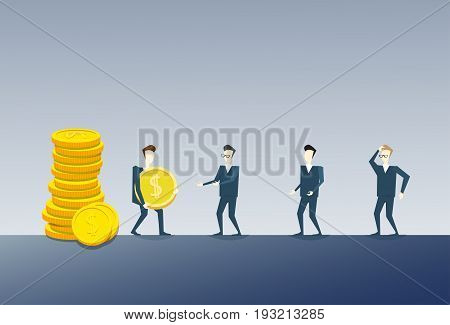 Business Man Giving Coing Stack To Colleagues Team Salary Money Finance Success Concept Flat Vector Illustration