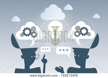 Business Brainstorming Process New Idea Cog Wheel Work Together Project Strategy Concept Flat Vector Illustration