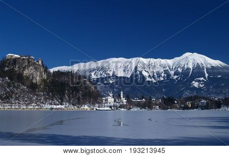 Lake Bled on a clear wintery day lake frozen