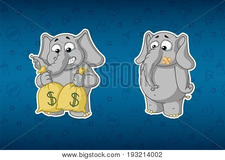 Stickers elephants. Holds bags of money. Much money. with mouth sealed. Big set of stickers. Vector, cartoon