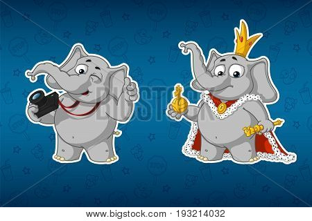 Stickers elephants. Photographer with a camera. King in the robes. Big set of stickers. Vector, cartoon.