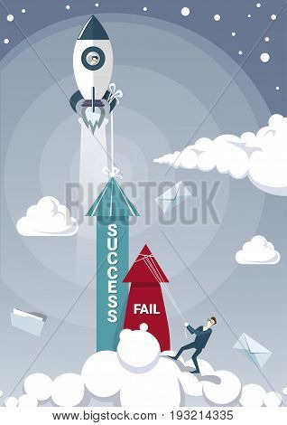 Business Man Hold Fail With Rope While Sucess Arrow Growing Up With Space Ship Rocket Flying Successful Startup Concept Flat Vector Illustration