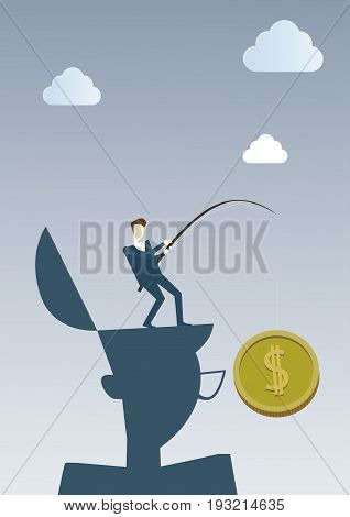 Business Man Hold Coin With Fishing Tackle Money Finance Success Concept Flat Vector Illustration