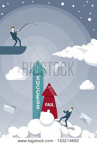 Business Men Team Hold Fail With Rope While Sucess Arrow Growing Up Flat Vector Illustration
